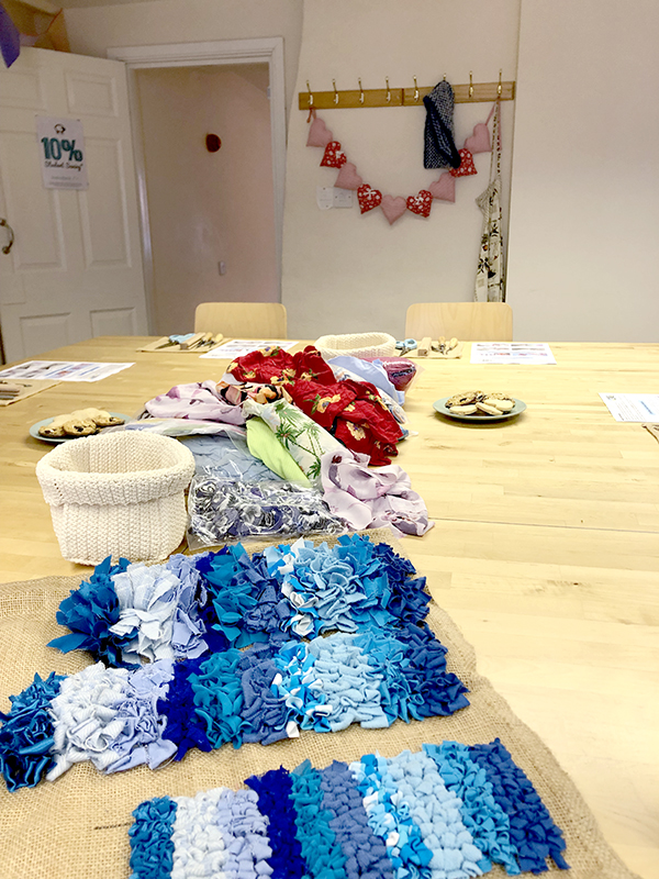 Fabric to rag rug with at Knit and Stitch in York