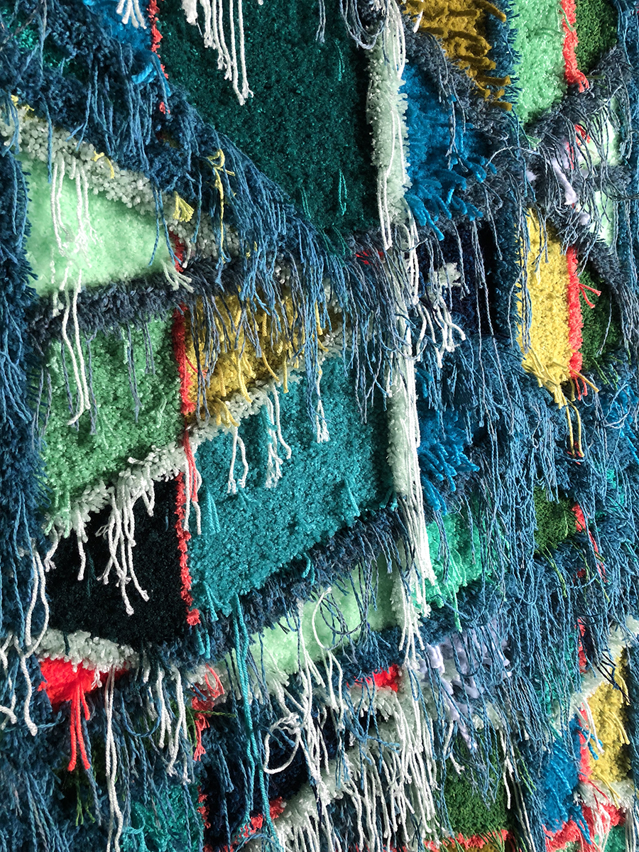 Green wool and texture in Trish textile piece