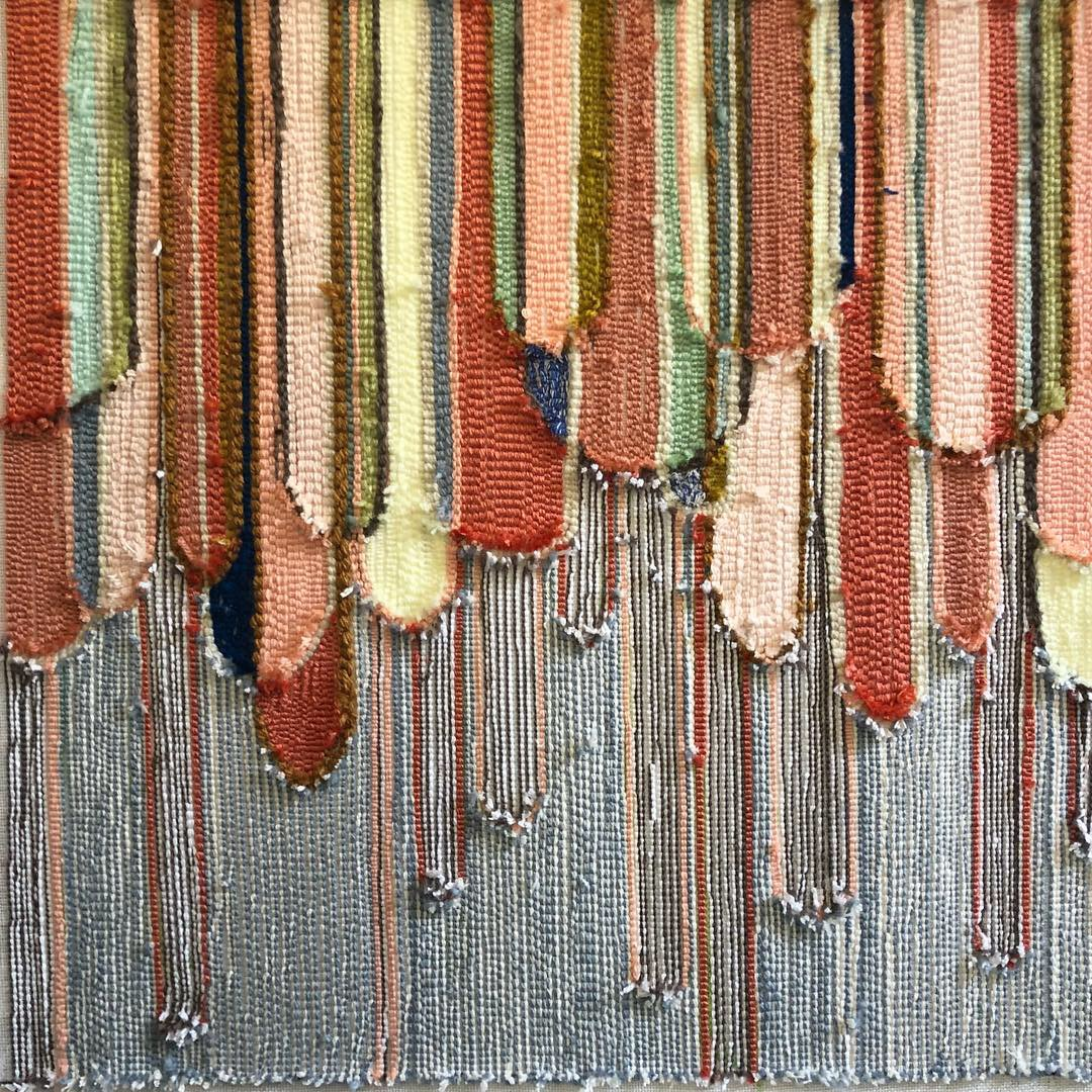Autumn coloured textile piece by Trish Andersen