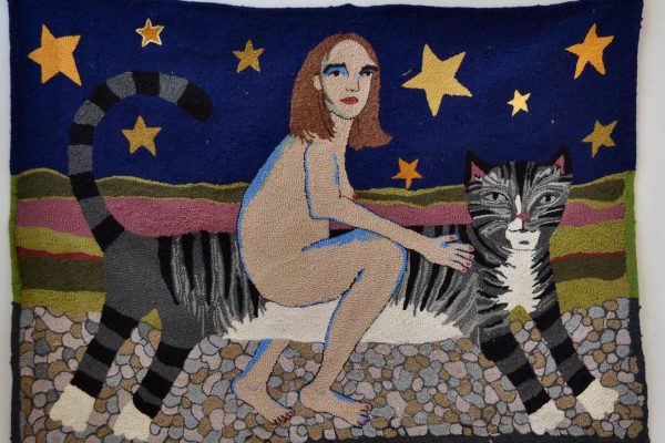 Textile art by Selby Hurst Inglefield of a naked woman riding a cat featuring a blue sky and gold star background