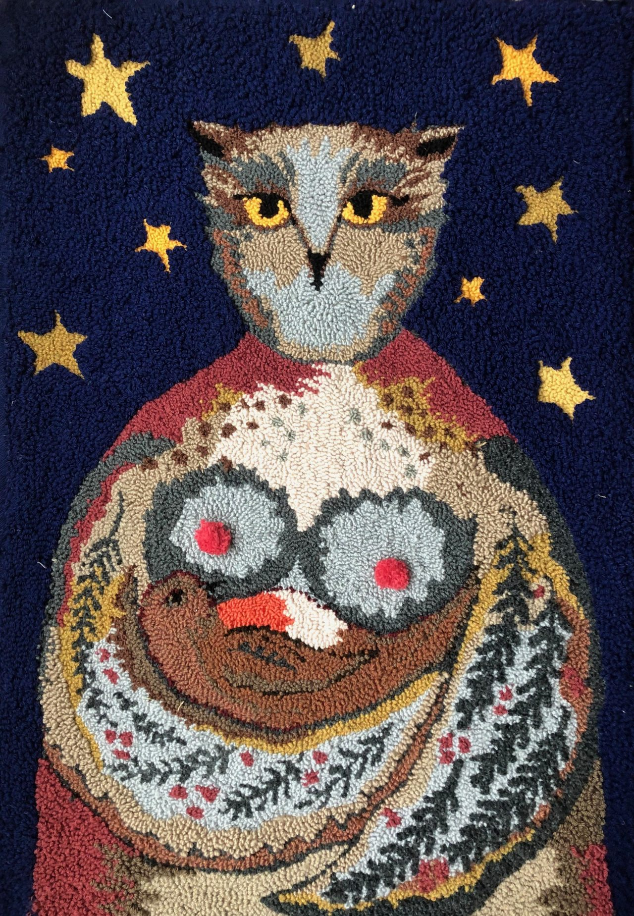Textile art of an owl by Selby Hurst Inglefield with a starry night background