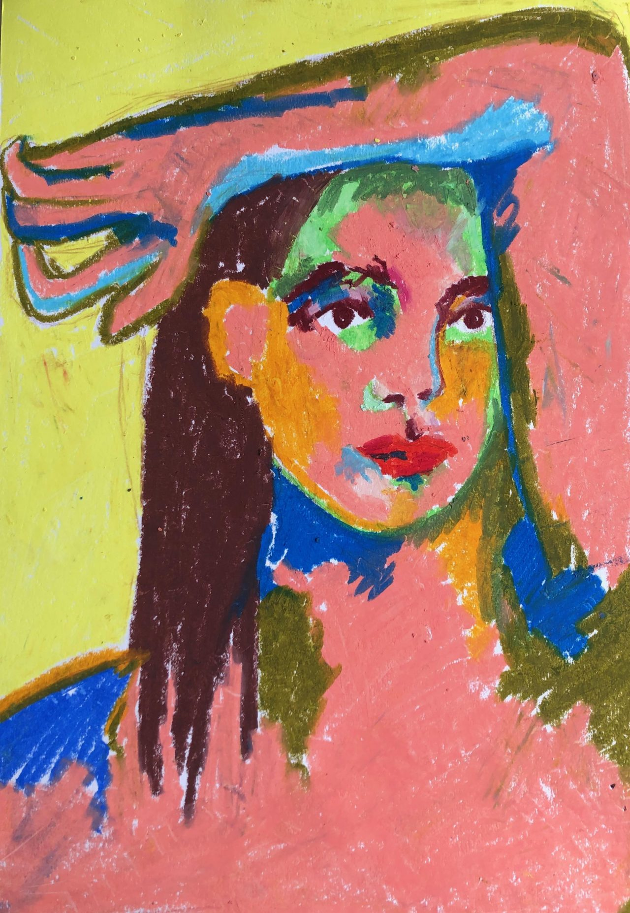 Colourful portrait oil pastel sketch by Selby Hurst Inglefield
