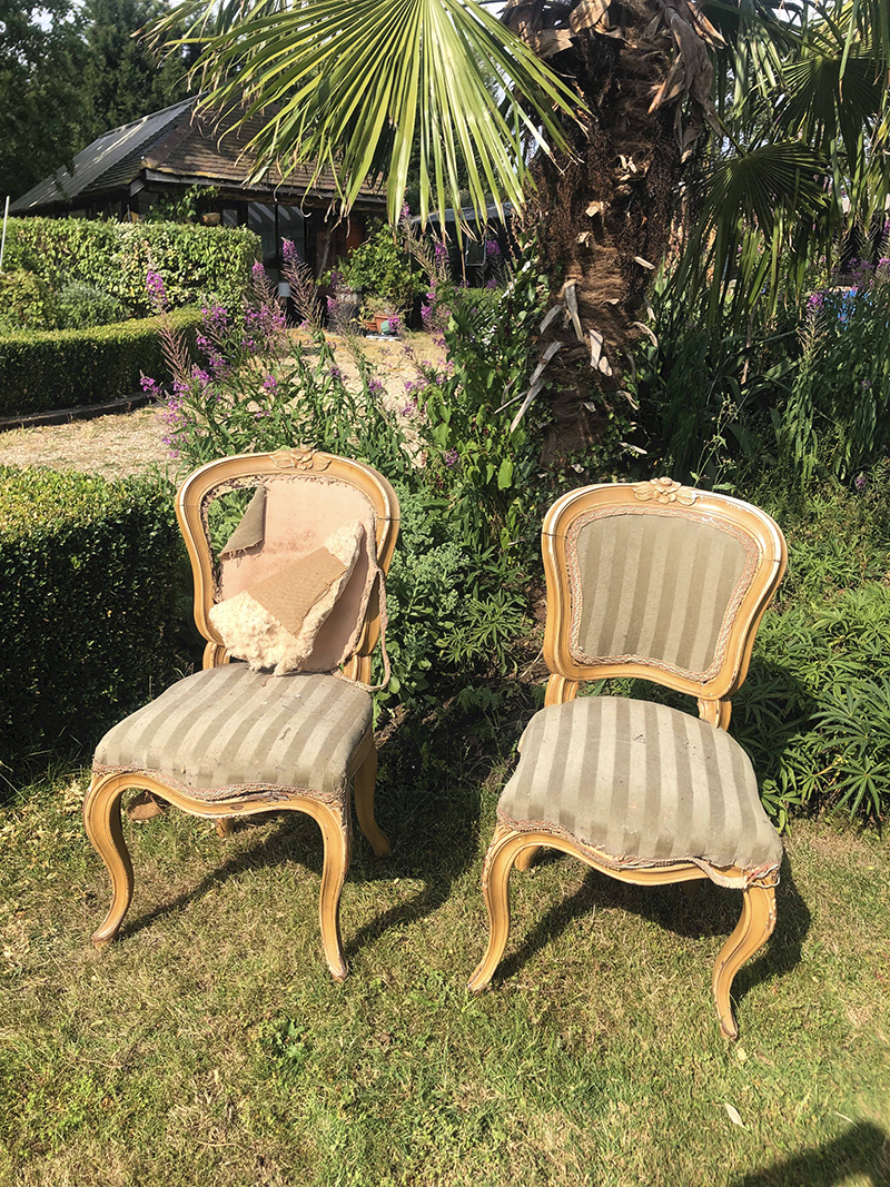 Vintage chairs to be upholstered in rag rugging