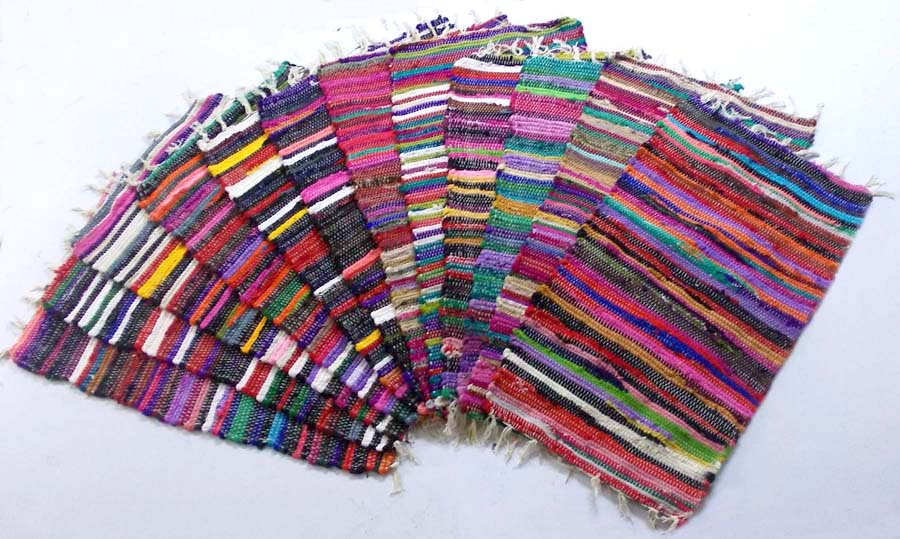Brightly coloured Chindi rag rugs