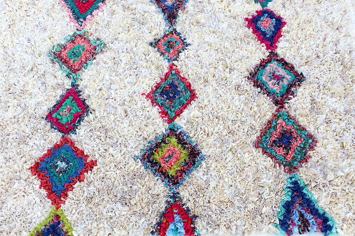 Close up of berber style rag rug