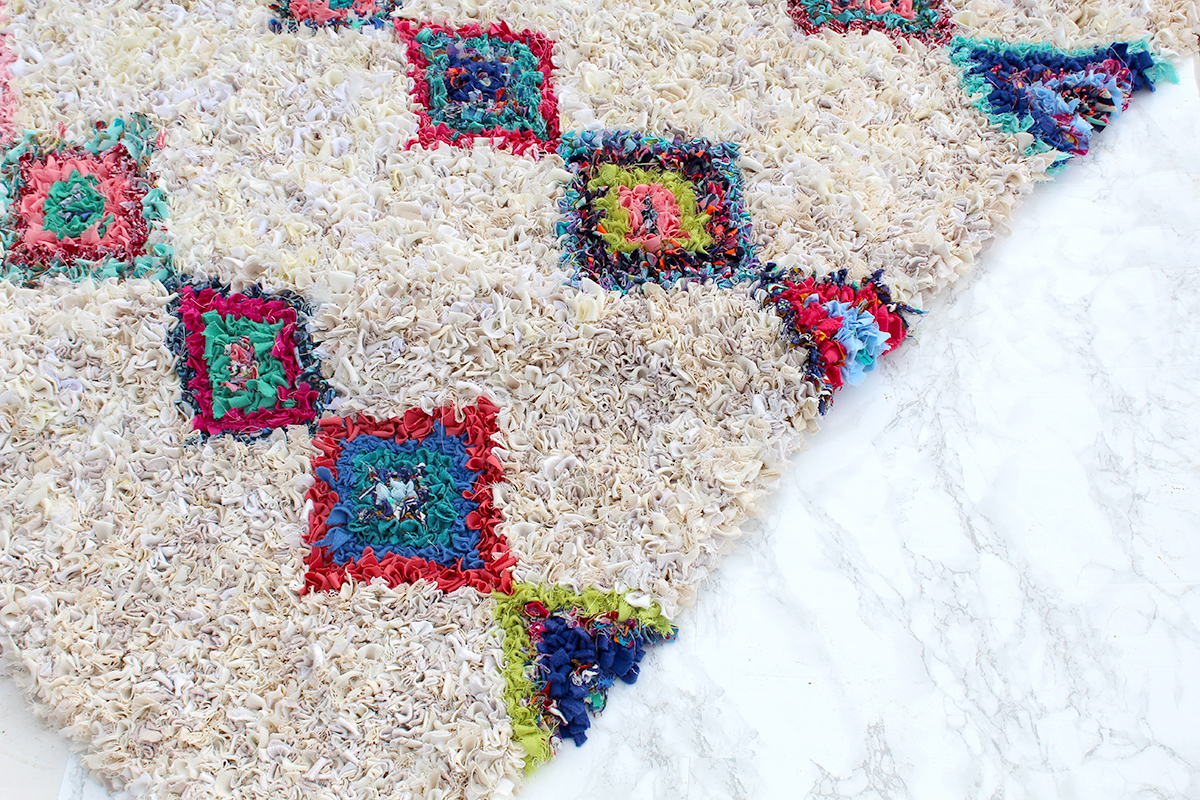 Colourful Boucherouite rag rug handmade in the UK