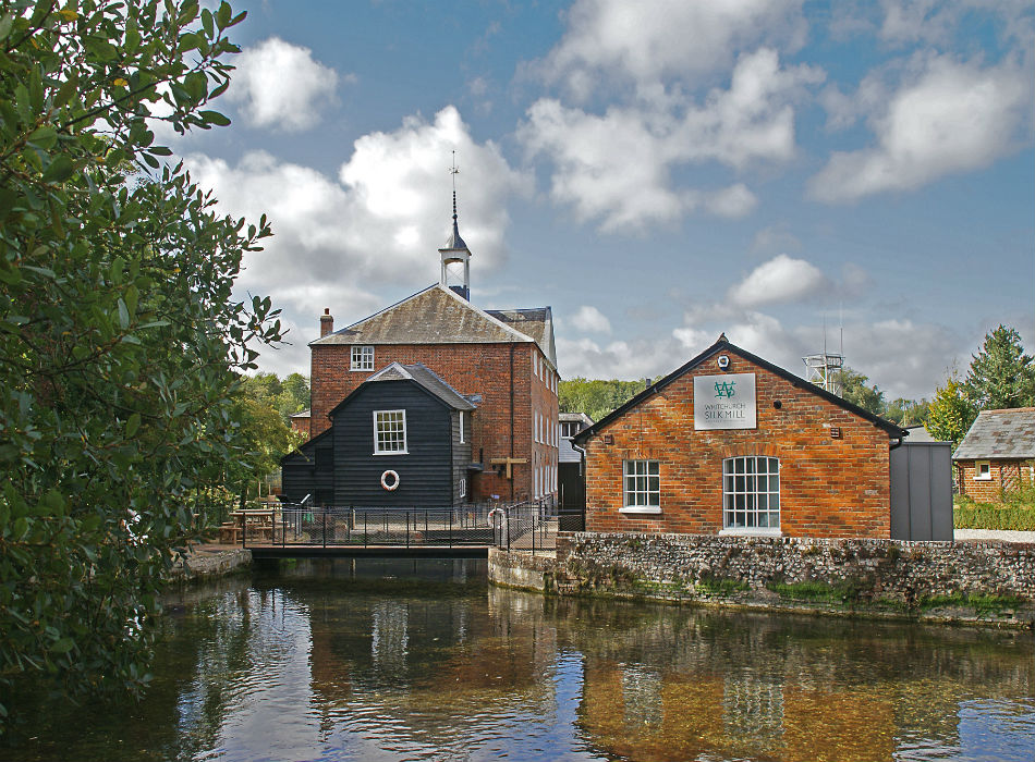 Whitchurch silk mill brick buildings and river