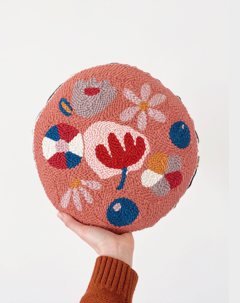 Needle Punching, Adeline Wang, round cushion
