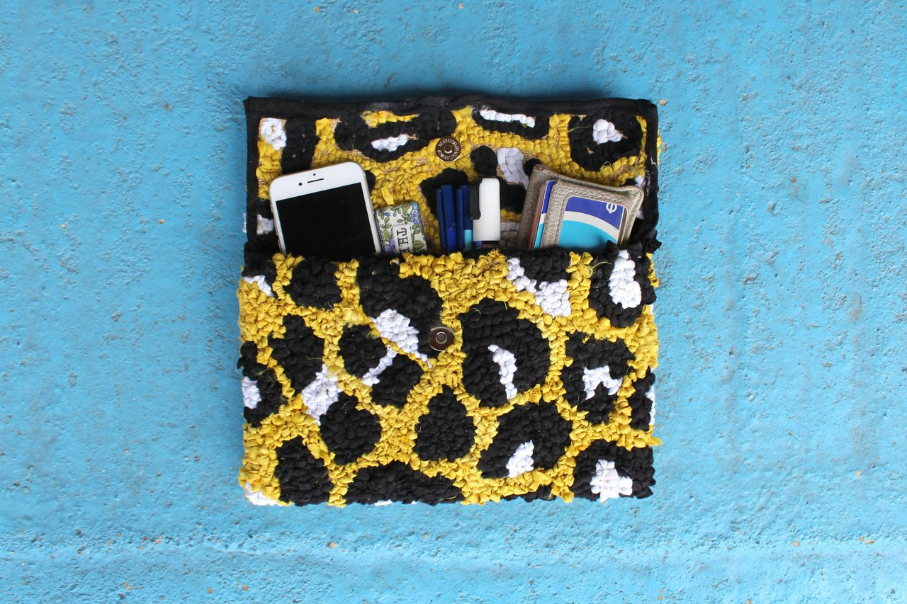 rag rug leopard print bag with items in