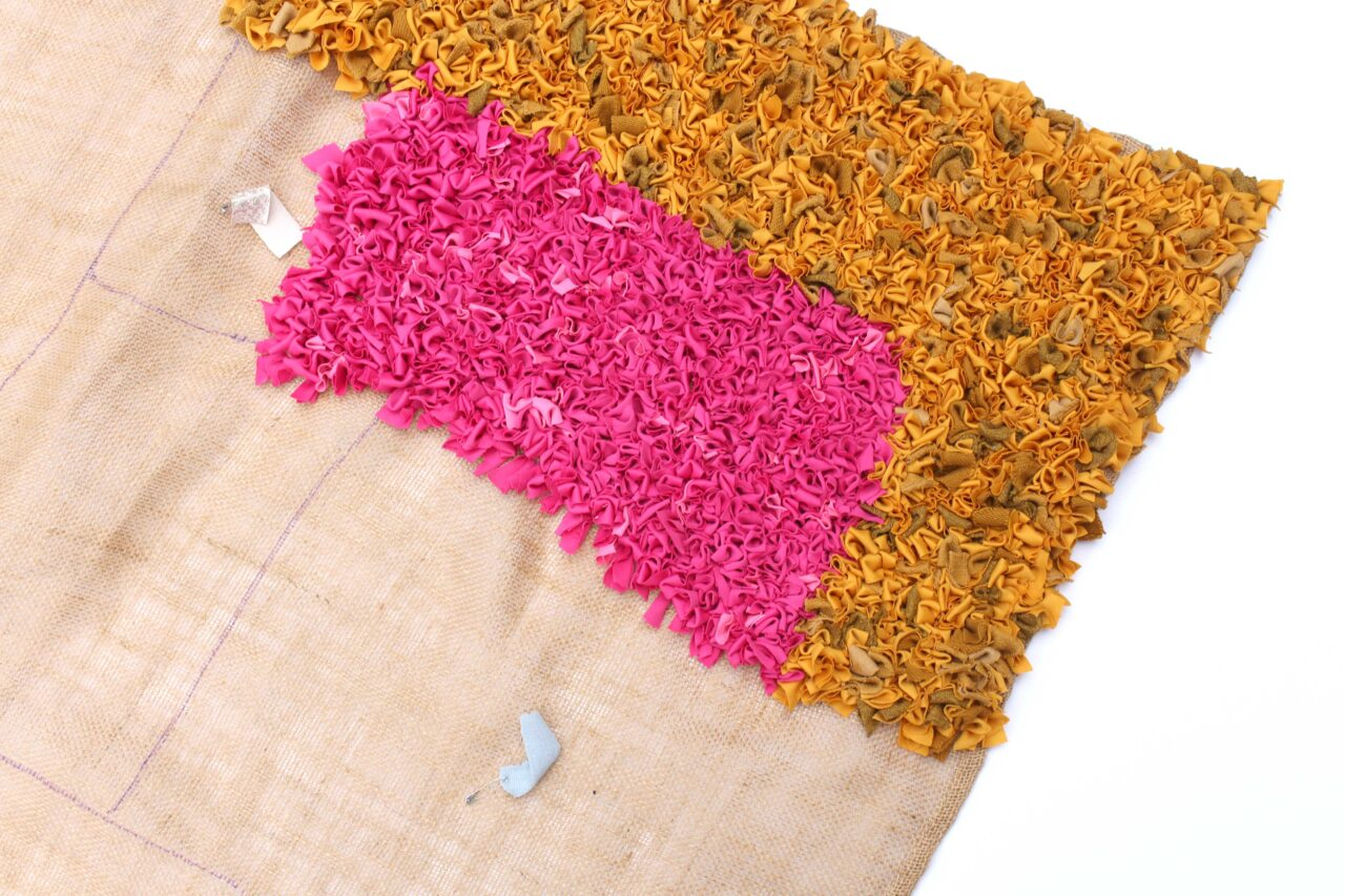 two colour blocks work in progress rag rug