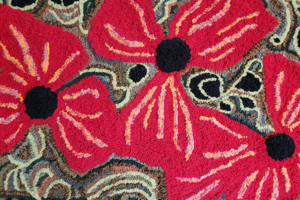 Red Floral Design Rag Rug Hooking