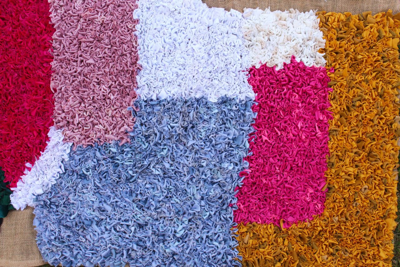work in progress sany rug yellow pink white