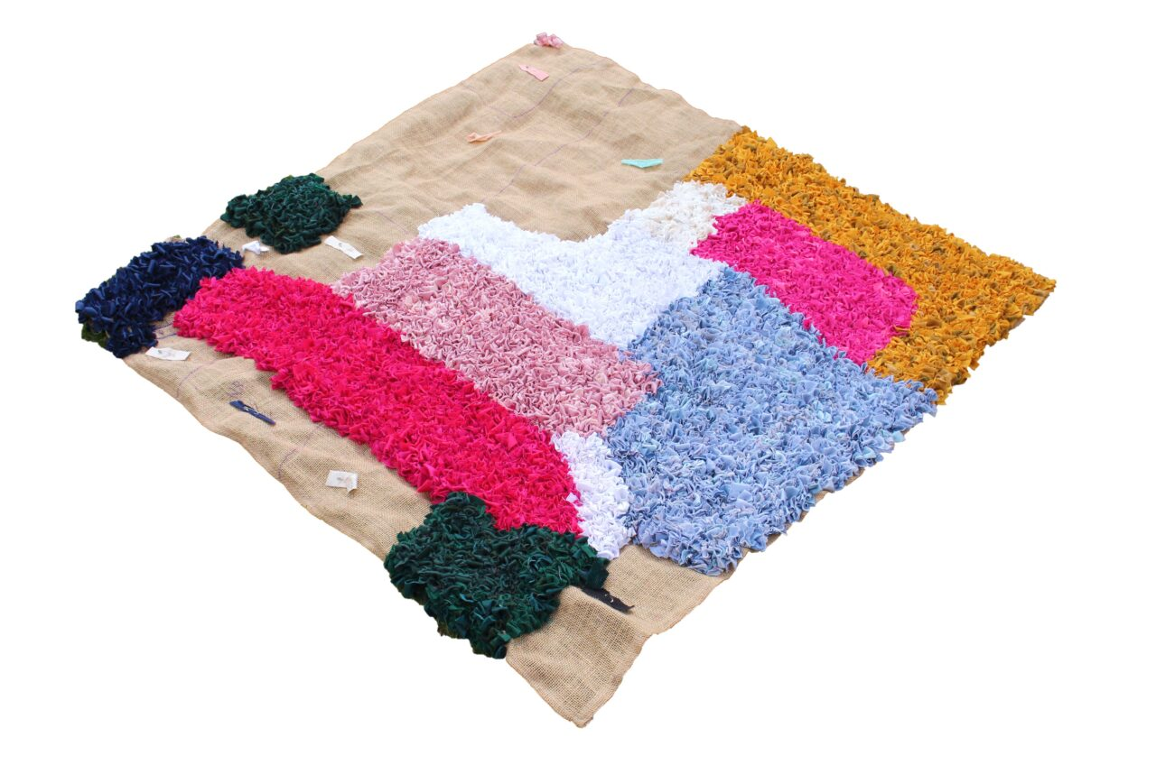 diagonal full view rag rug work in progress