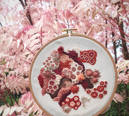 Hannah Kwasnycia Embroidery Red Hoop Pink Bush