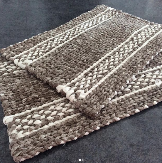 grey twined rag rug with white pattern