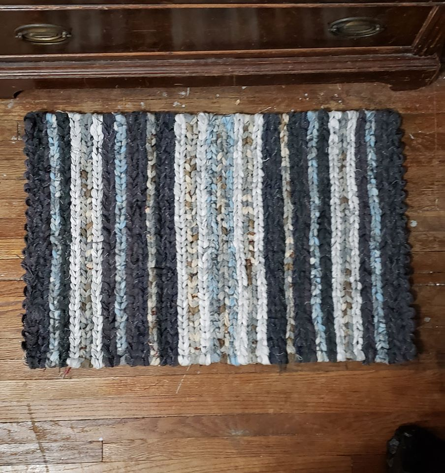 Mixed Blue Striped Twined Rag Rug