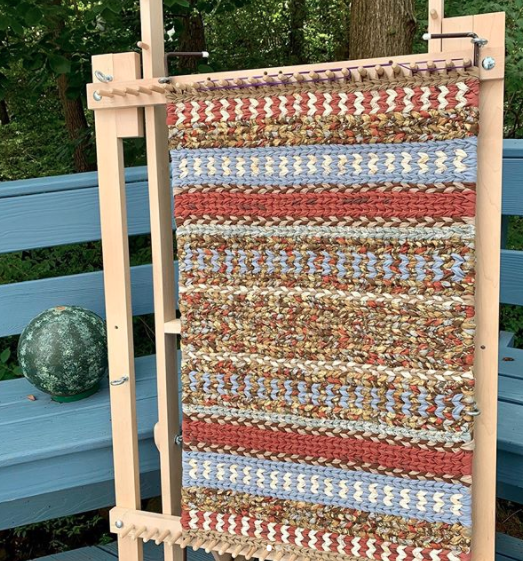 twined rag rug on loom with watermelon