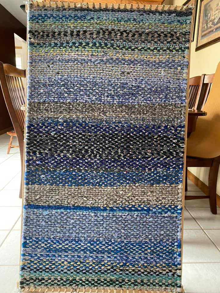 blue and grey striped twined rag rug