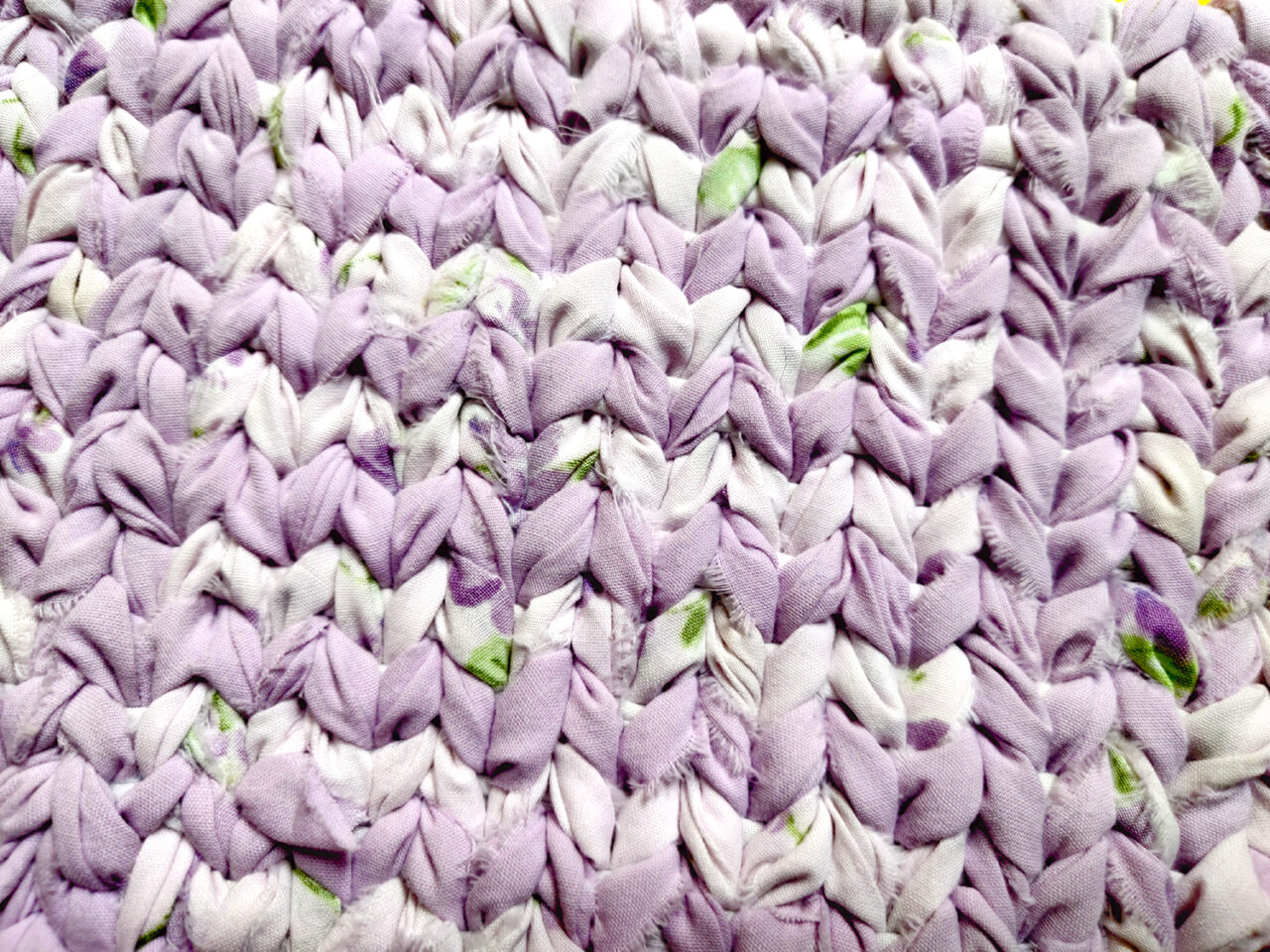 Purple and white cotton twined sampler