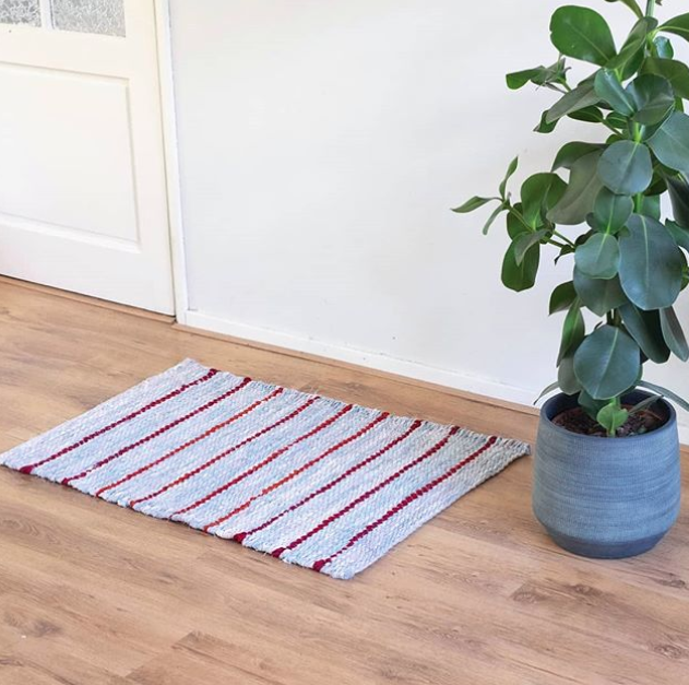 twined striped rag rug with plant