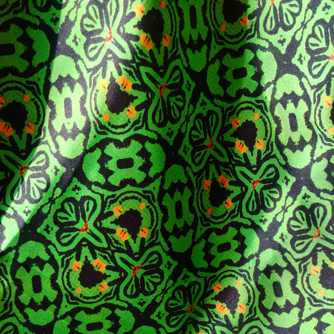 simone saunders green patterned fabric