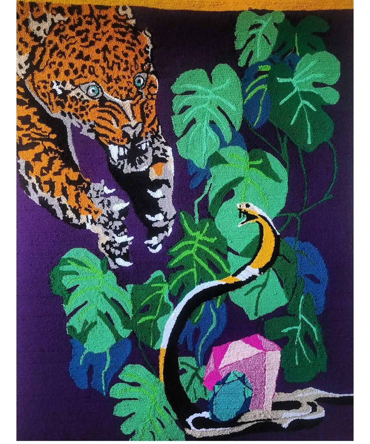 finished design snake and tiger wall hanging