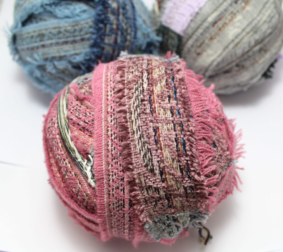 Pink chenille yarn for rug making