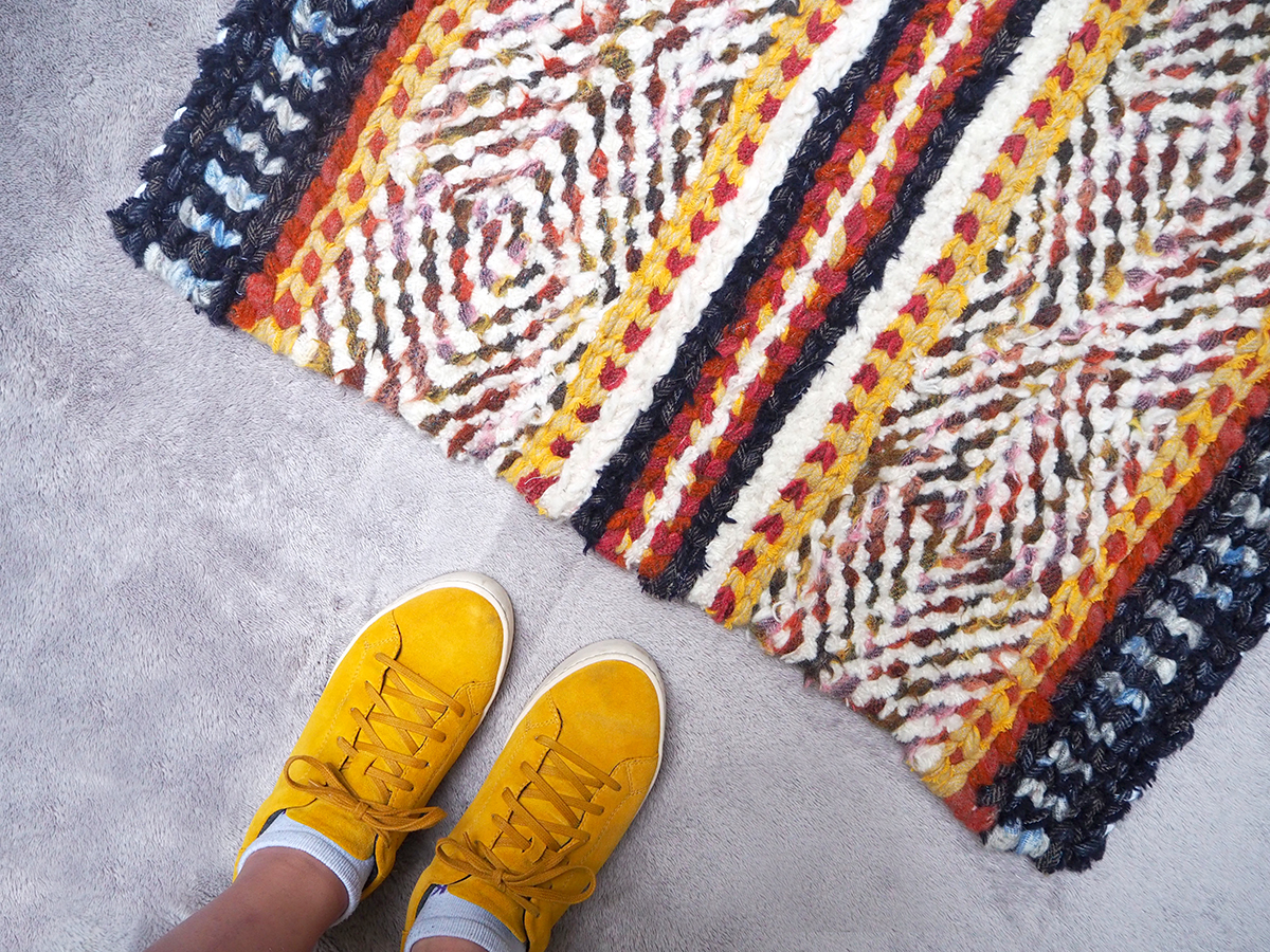 Twined rag rug made using british blanket offcuts from Ragged Life