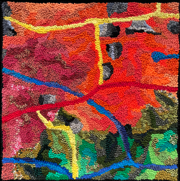 Bold Colourful Abstract Hooked Rug