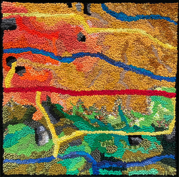 Hooked Rug Bold Abstract Design