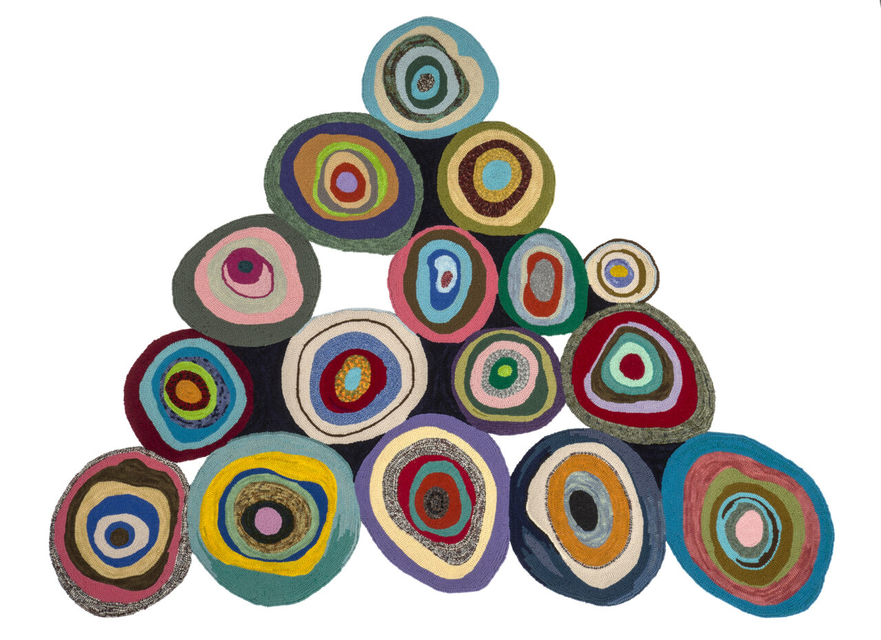 Rolled Pyramid Textile Standing Sculpture Multicoloured