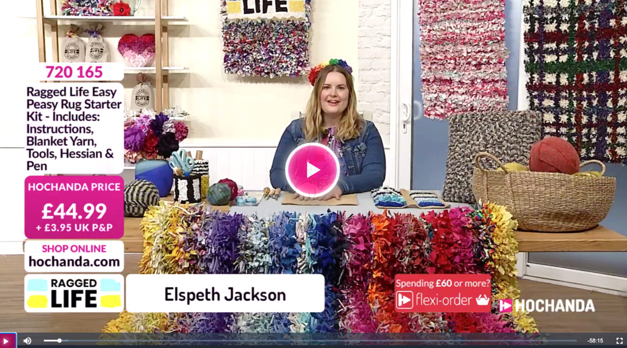 Elspeth from ragged life on Hochanda TV demoing how to rag rug