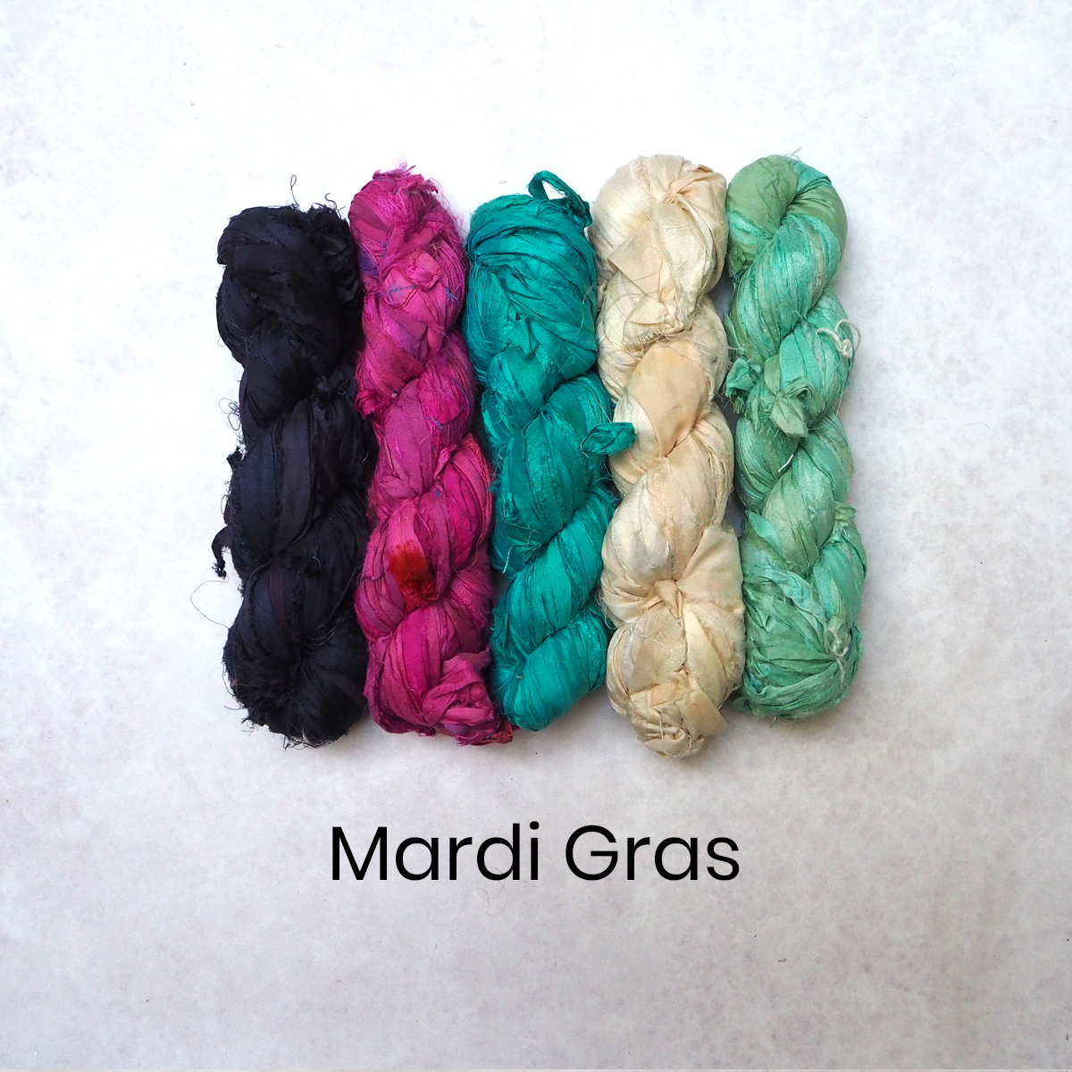Brightly coloured sari silk ribbons in 100g skeins