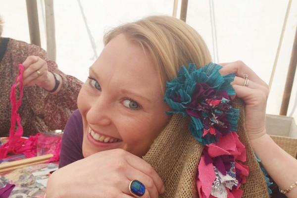 Rag Rug Hair Flower